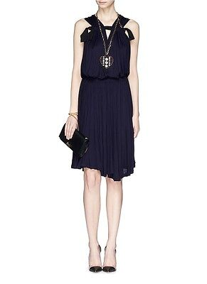 Lanvin CHIC Gathered Mousseline Drape Grosgrain Ribbon Stretchy Pleated Dress M