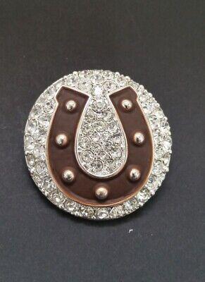 Western Horseshoe Round Silver-tone Crystal Magnetic medallion Pendant (9 Silver Tone Crystal)