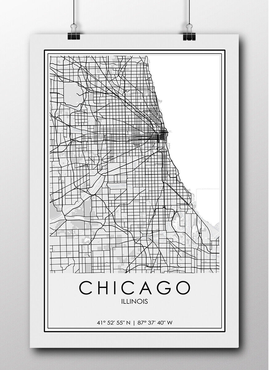 Minimalist Chicago Map Modern Map Poster Chicago Map Print Chicago IL Map Chicago Chicago Illinois Chicago City Map