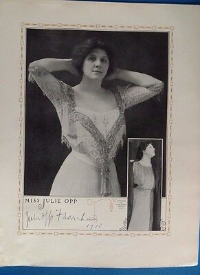Authentic Julie Opp Faversham stage theater play Broadway signed 1913 fashion