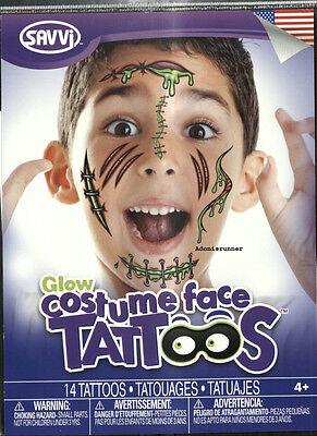 NEW COSTUME FACE TATTOOS Radioactive Zombie - Radioactive Costume