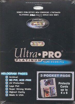 1000 Ultra Pro Platinum Hologram 3-pocket Page For 4x6 Fo...