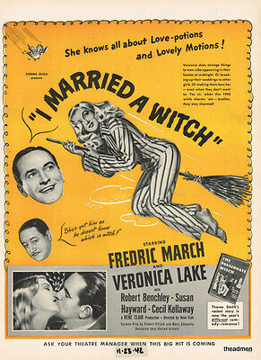 """1942 VERONICA LAKE """"I MARRIED A WITCH"""" LAMINATED MOVIE AD ART"""