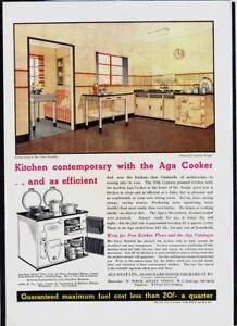 AGA COOKER - Vintage 1930s Original ADVERTISEMENT. Free UK Post