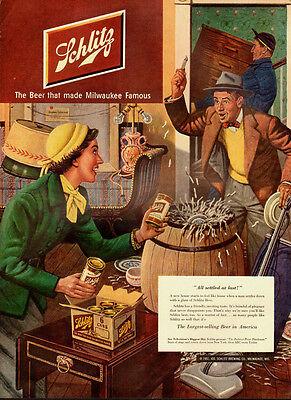 1951 Vintage ad for Schlitz Beer/Art/Colorful illustration/ (071213)