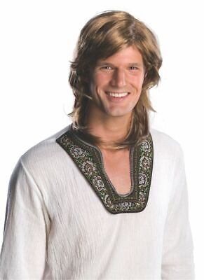 Rubies 70s Hippy Guy Adult Mens Brown Wig Halloween Costume Accessory 51847 - Hippie Halloween Costumes Guy