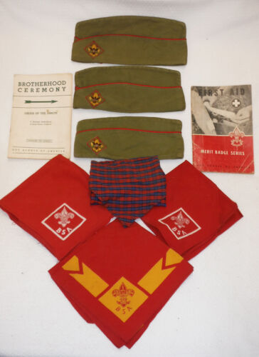 Boy Scouts BSA GARRISON Caps / Hats Neckerchief &  Manuals from the early 1960