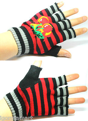 Red Stripe Gloves Fingerless Mittens Glove Boy Girls UK Seller - Girls Red Gloves