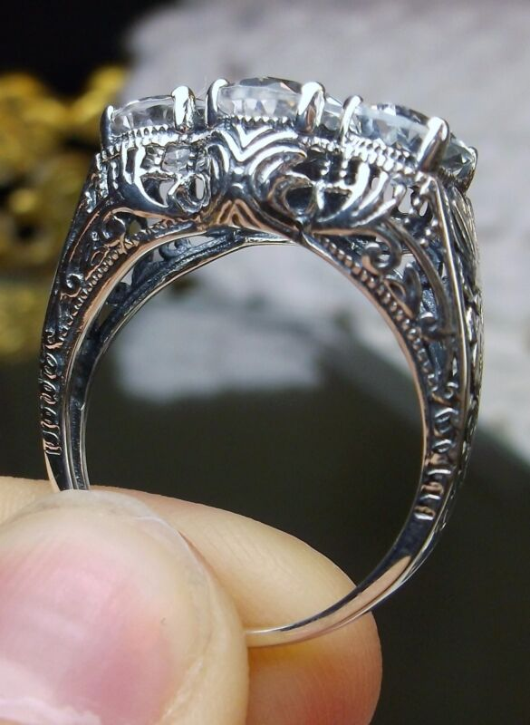 White Topaz Sterling Silver Edwardian/Victorian Filigree Ring {Made To Order}