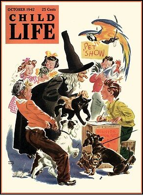 Live Halloween Show (HALLOWEEN PET SHOW WITCH BLACK CAT CHILD LIFE 1942 REPRO POSTER PRINT)