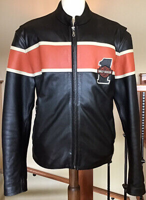 New HARLEY DAVIDSON Men's 2XL Black Leather 1# Racing Jacket in VG Condition!