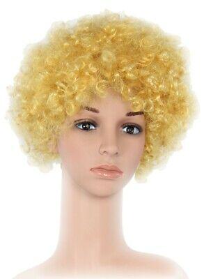 blonde Clown Perücke 70er Jahre Karneval Afro Lockenkopf Perücke blond für Party