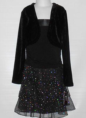 BCX Girl Velvet & Chiffon Tiered Party Dress With Attached Shrug Black Seven (7) - Girls Velvet Shrug