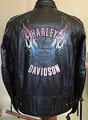 HARLEY DAVIDSON Mens Size LARGE Vented Armored Leather Jacket in Great Condition