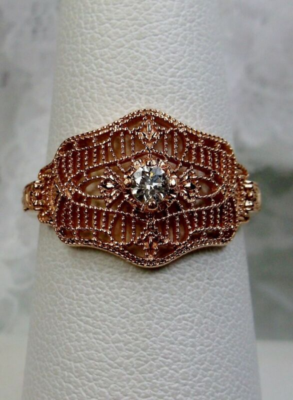 White CZ Deco/Victorian Sterling Silver & Rose Gold Filigree {Made To Order}#218