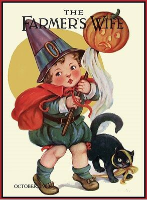 HALLOWEEN CHILD CAT '15 FARMER'S WIFE MAGAZINE COVER VINTAGE REPRODUCTION - Halloween Kids Posters