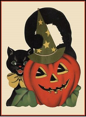 1930s HALLOWEEN CAT PUMPKIN with WITCHES HAT DIE-CUT VINTAGE REPRODUCTION POSTER