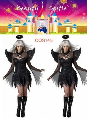 Womens Goth Black Fallen Devil Angel Temptation Fancy Halloween Costume COS145