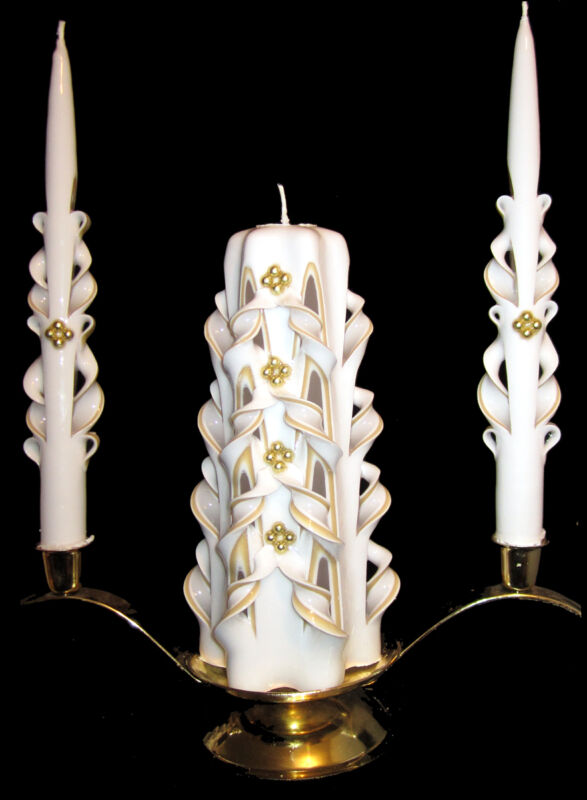 *GOLD* hand-carved Wedding Unity Candle SET - Eco-Friendly Reclaimed Wax - WOW!