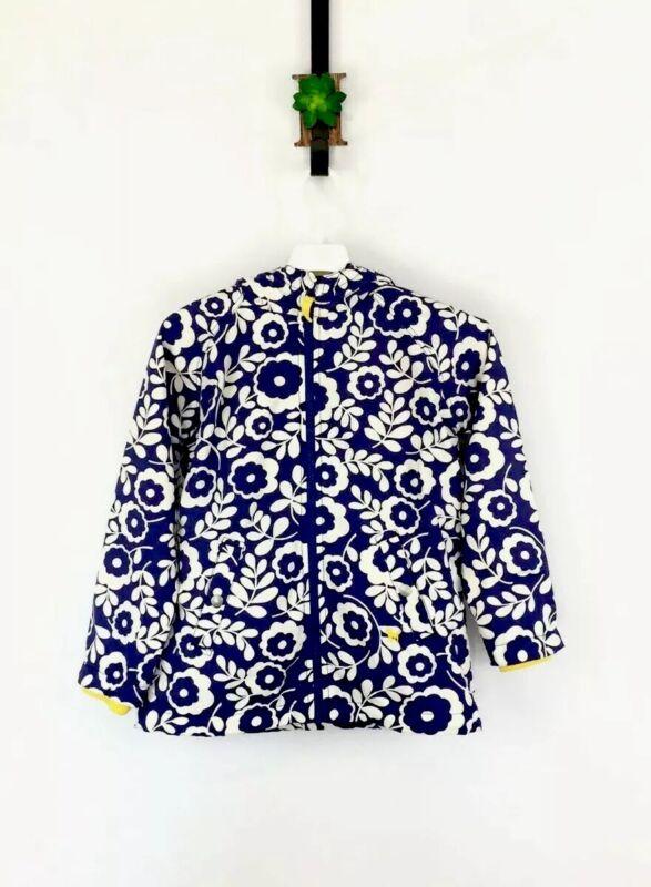 Mini Boden Girls Sz 9-10 Floral Jacket Coat Raincoat Hooded Blue White Insulated