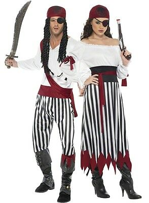 Tv Couple Costumes (Couples Striped Pirate Book Day TV Film Matching Fancy Dress Costumes)