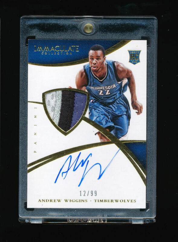 Andrew Wiggins 2014-15 Panini Immaculate Timberwolves 4 Color Patch Auto Rc /99