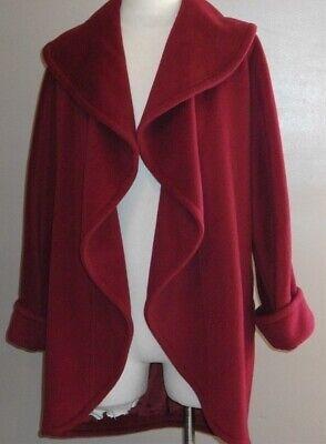 EMANUEL UNGARO PARALLELE PARIS Burgundy Wool Blend Oversized Open Coat Sz 4 VTG.