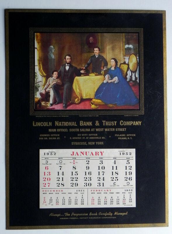 Lincoln National Bank & Trust Syracuse NY Large 1952 Unused Calendar