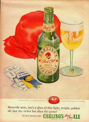 1951 vintage beer ad, Carlings Red Cap Ale, Go Team!-(062313)