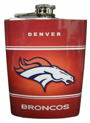 Denver Broncos Liquor Flask Stainless Steel 8oz Vinyl Screw Cap Hip Gin Vodka... Broncos Hip Flask