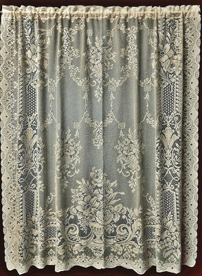 Lace Window Valance, Swag Pair and Panels Ivory or White Fontaine Cotton Blend  - Ivory Lace Valance