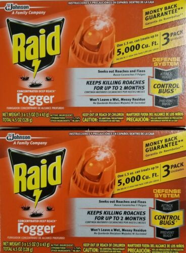 2 Boxes - Raid Concentrated Deep Reach Fogger (3 Pack) 6 Total SHIPS PRIORITY!