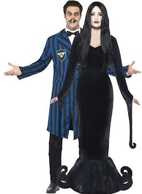 Paar Herren Damen Morticia Gomez morbide Adams Familie Halloween Kostüme Outfit