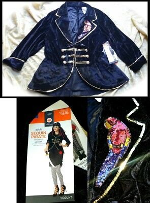$25 Sequin Pirate Jacket Cosplay Costume Adult Women Crushed Velvet-Parrot NEW (Parrot Pirate Costume)