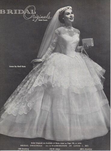 Vintage advertising print ad Bride Wedding Gown dress 1955 Lace Emil Katz pretty