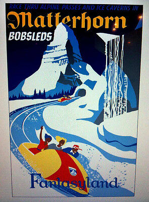Disneyland Matterhorn Attraction Poster Art Print 32 x 40 Disney