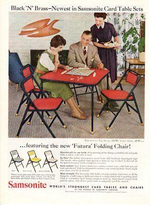 Vintage advertising print ad 1955 Black N Brass Samsonite Card Table Set Futura