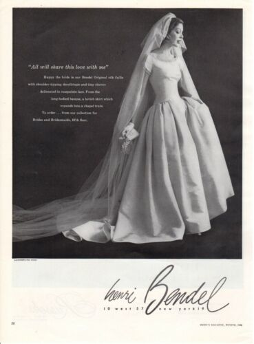 Vintage advertising print ad Bride dress 1955 Wedding gown Henri Bendell Silk ad