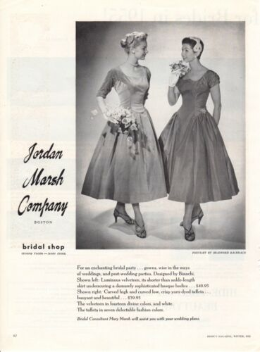 Vintage advertising print ad Bride dress 1955 Jordan Marsh party Bianchi Design