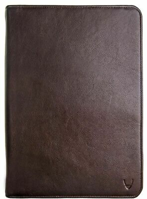 New Hidesign Leather Zip File Folder Writing Padfolio With Tablet Pocket Brown