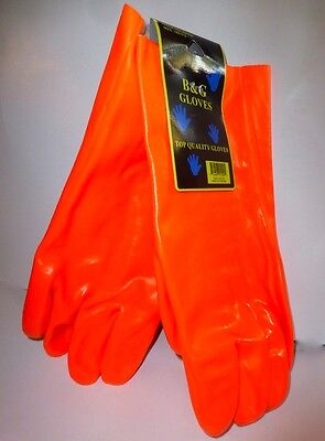 Bg Pvc Coated Work Gloves Lined Comfortable Fits Large Mens Hands Orange