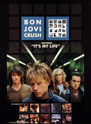 BON JOVI 2000 CRUSH IT'S MY LIFE PROMO POSTER ORIGINAL