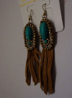 Western Style Brown faux Suede Fringe Oval Turquoise gold beads Earrings W3-7/22 Golden Brown Earring