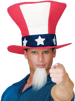 Morris Costumes Adult Unisex Polyester Uncle Sam White Hat With Beard. FW93401 - Halloween Costumes For Men With Beard