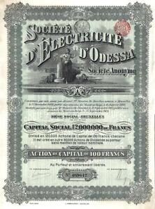Imperial-Russland-Russia-Bond-1913-Electricity-Co-Odessa-100-fr-coupons-Deco