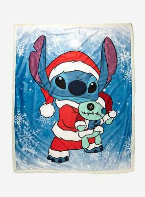 Disney Lilo & Stitch Santa Stitch & Scrump Christmas Sherpa Fleece Blanket