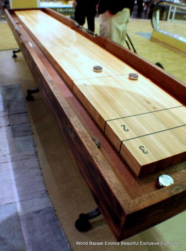 """156"""" long Industrial Shuffleboard table Hardwood reclaimed walnut and oak"""