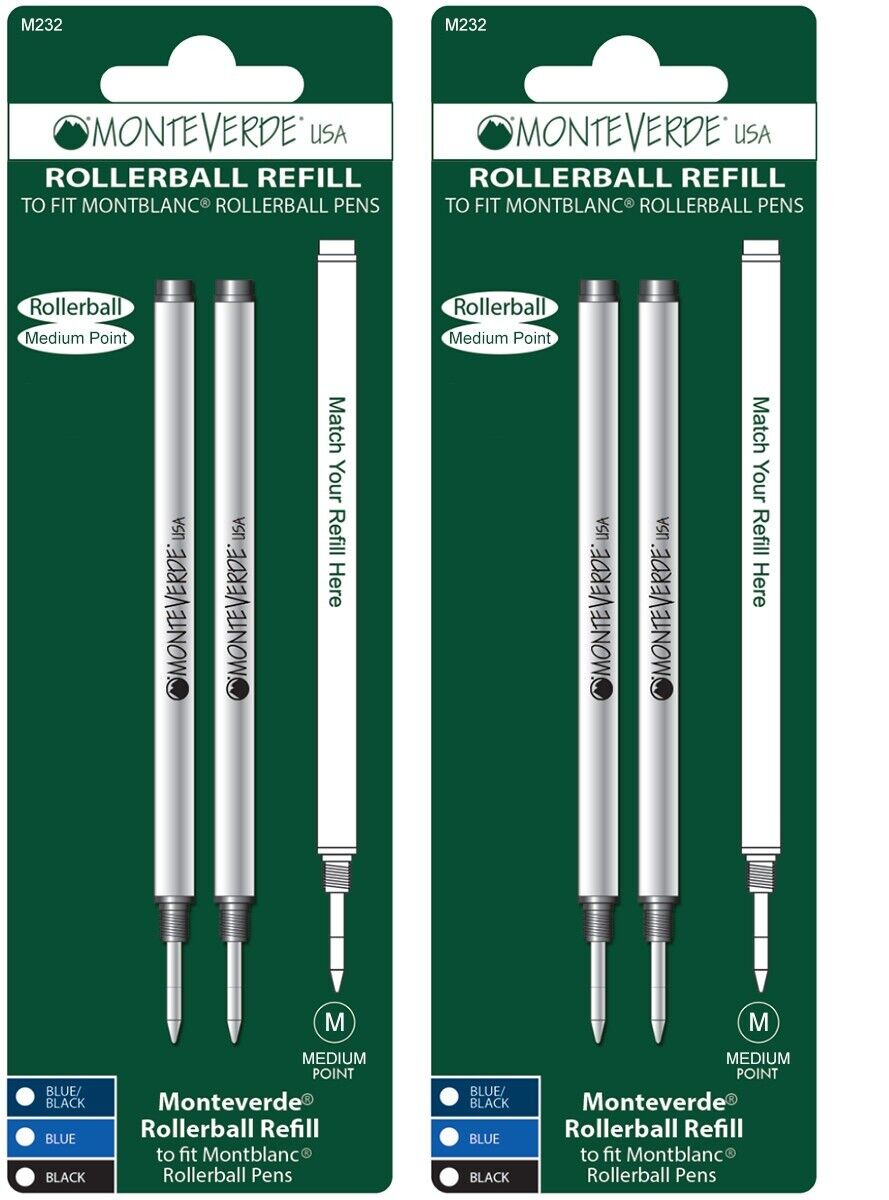 2 Packs Montblanc Rollerball Pen Refills by Monteverde, Sealed Packs, Medium M23 Collectibles