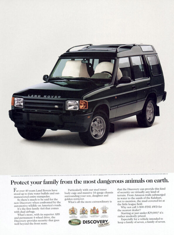 1994 Land Rover Discovery: Most Dangerous Animals on Earth Vintage Print Ad