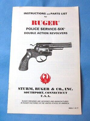 1974 Sturm//Ruger SS Security Speed Police Service Six Revolver Owner/'s Manual